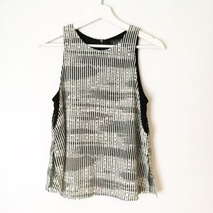 ASTR Black And Off White Double Layer Tank Top